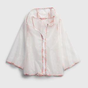 NWT GAP 5Y clear pink floral rain jacket